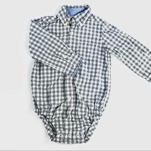 Carters checkered button up onesie shirt